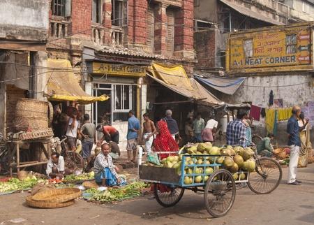 kolkata: Calcutta, India - December 18, 2008: Busy vegetable market in the Chowringhee area of Kolkata, West Bengal, India Editorial