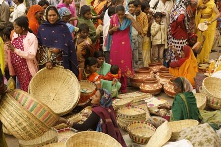 barter: Orchha, India - January 14, 2009: Crowded market during a Hindu festival at Orchha, Madhya Pradesh, India.