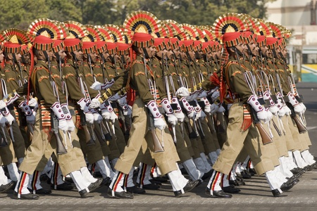 parade: Delhi, India - January 23, 2008: Soldiers of the Indian Army marching down the Raj Path in preparation for the Republic Day Parade