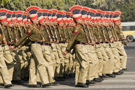 Delhi, India - January 23, 2008: Soldiers of the Indian Army marching down the Raj Path in preparation for the Republic Day Parade