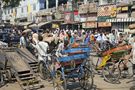 Delhi, India - September 27, 2006: Crowded street scene from Old Delhi, India