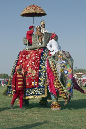 mahout: Jaipur, India - March 21, 2008: Decorated elephant at the annual elephant festival in Jaipur, Rajasthan, India