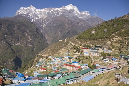 Village of Namche Bazar at an altitude of 3440M in the Nepalese Himalayas is a major staging post for those trekking to Everest Base Camp and beyond. Stock Photo - 8612298