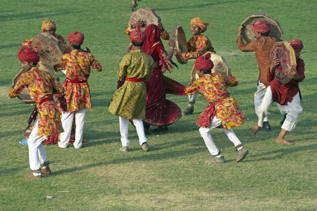 Jaipur, India - March 10, 2009: Group of dancers performing at the annual elephant festival in Jaipur, Rajasthan, India.