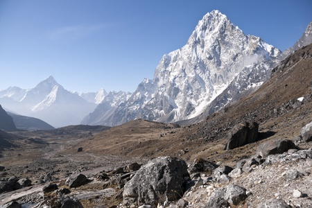 nepal: High altitude valley in the Himalaya Mountains of Nepal. Most prominent mountain Arakam Tse - 6423m.