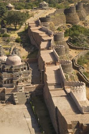 impregnable: Kumbhalgarh Fort, Rajasthan, India - November 16, 2007: Massive ramparts of Kumbhalgarh Fort, Rajasthan, India.