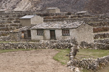 Traditional mountain farmhouse in the village of Dingboche (4410 Metres) in the Himalaya Mountains of Nepal Stock Photo - 8669017