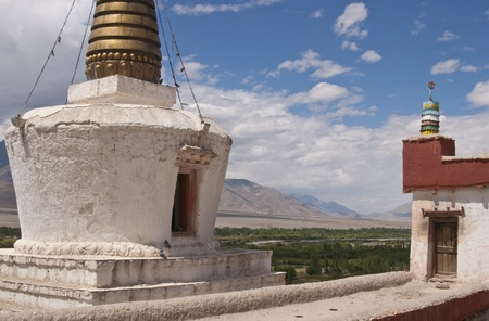 Buddhist temple and stupa at Shey monastery, Ladakh, India photo