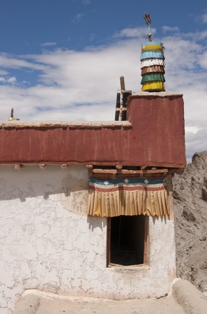 Entrance to a Buddhist temple on the roof of Shey monastery, Ladakh, India photo