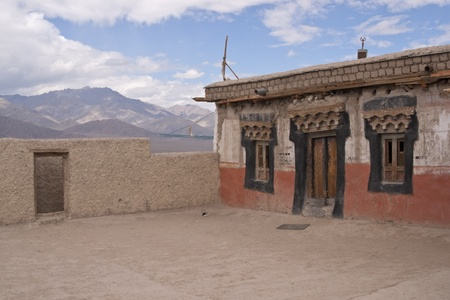 gelugpa: Entrance to a Buddhist temple on the roof of Shey monastery, Ladakh, India Stock Photo