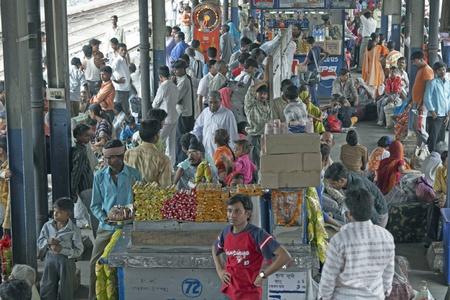 Delhi, India - July 18, 2008: People crowd a platform at Old Delhi railway station in Delhi, India.