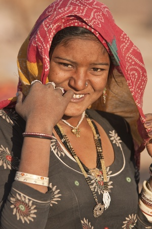 Nagaur, Rajasthan, India - February 16, 2008: Indian woman of the Bishnoi Tribe at the Nagaur Cattle Fair in Rajasthan, India