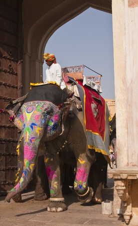 Jaipur, India - July 10, 2009: Mahout riding a decorated elephant at Amber Fort in Jaipur, Rajasthan, India.