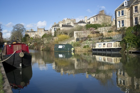 Bath, England - February 12, 2011: Kennet and Avon Canal running through the historic city of Bath in Somerset, England