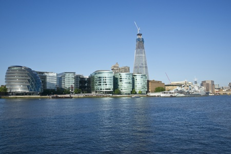 London, England - July 24, 2011: The Shard under construction at London Bridge on the River Thames in London, England. When complete it will be the tallest building in the European Union.
