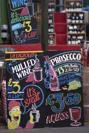 London, England - December 30, 2009: Colorful sign advertising mulled wine for sale at Borough Market in Southwark, London, England.