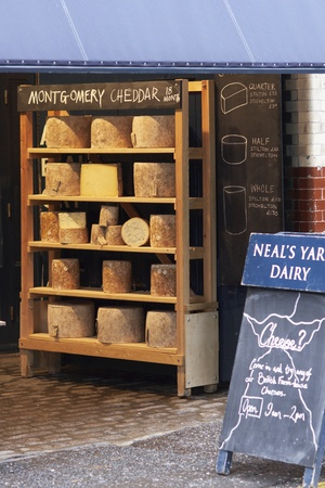 southwark: London, England - December 31, 2009: Neals Yard Dairy selling cheese at Borough Market in Southwark, London, England.