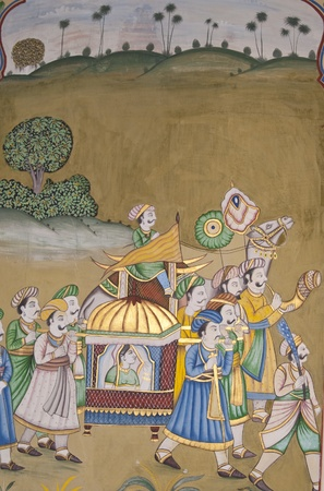 palanquin: Jaipur, India - December 29, 2006: Wall painting of traditional Indian scene in Jaipur, capital of Rajasthan, India.