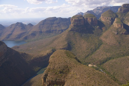 The Three Rondavels in the Blyde River Canyon Nature Reserve in Mpumalanga, South Africa photo