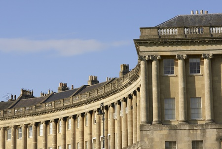 mined: The historic Royal Crescent. Large crescent of houses made from locally mined bath stone. Bath, Somerset, England