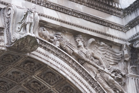 severus: Detail of carvings on the Arch of Septimius Severus. Triumphal Arch to the Roman Emperor Septimius Severus in the Forum, Rome, Italy. Circa AD203