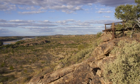 floodplain: Viewing platform overlooking the flood plain of the Limpopo River in Mpungubwe National Park in South Africa Stock Photo