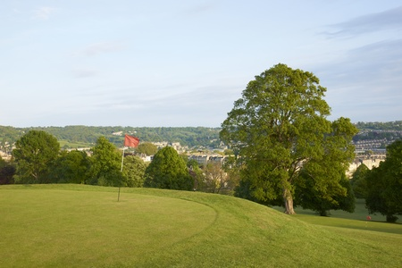 Golf course overlooking the historic city of Bath in Somerset, England photo