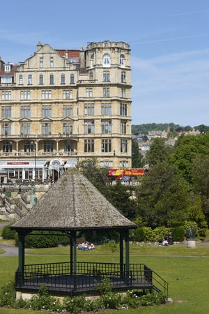 Bath, England - May 2, 2011: Band stand in Parade Gardens in Bath, Somerset, England. Empire Hotel in the background. Stock Photo - 13266323