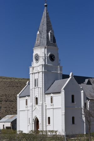 bethesda: Old church in Dutch Cape style in the remote town Nieu Bethesda in the Karoo area of the Eastern Cape, South Africa