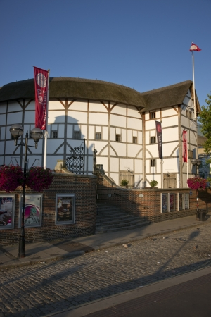 reconstructed: London, England - July 24, 2011: The reconstructed Globe Theatre on the south bank of the River Thames in London, England.