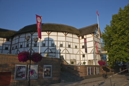 globe theatre: London, England - July 24, 2011: The reconstructed Globe Theatre on the south bank of the River Thames in London, England.