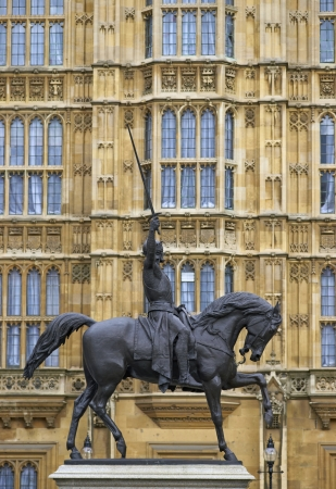 richard: Statue of Richard the Lionheart outside the Houses of Parliament in London, England