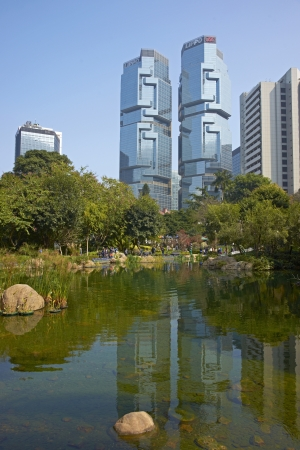 Hong Kong, China - January 28, 2012: Modern architecture of the financial district in Hong Kong, China