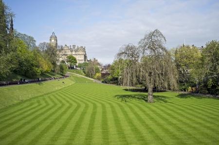 princes street: Edinburgh, Scotland - May 19, 2012: Neatly cut lawn of Princes Street Gardens in Edinburgh, Scotland Editorial