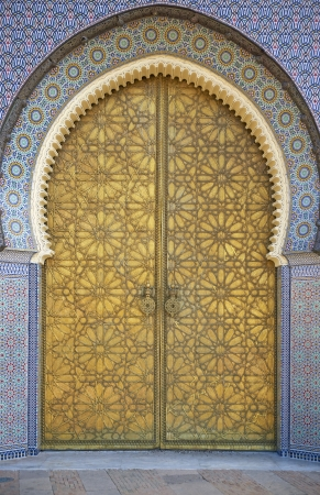 Ornate entrance gates to the Royal Palace in Fes, Morocco photo
