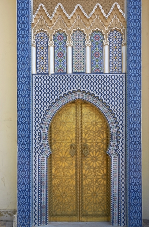 Fes, Morocco - October 18, 2012: Ornate entrance gates to the Royal Palace in Fes, Morocco Editorial