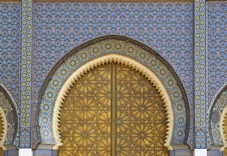Ornate entrance gates to the Royal Palace in Fes, Morocco Stock Photo