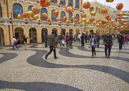 Macau, China - January 30, 2012: Sendo Square in Macau decorated for the Chinese New Year of the Dragon. Macau, China