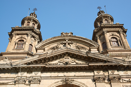 plaza de armas:  Historic Catedral Metropolitana in the Plaza de Armas in Santiago, Chile