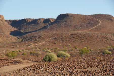 Gravel road winding through the beautiful arid landscape of northern Damaraland in Namibia photo