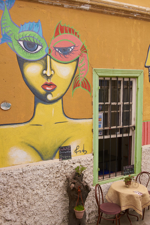 valparaiso: Valparaiso, Chile - May 13, 2014  Colourful murals decorating a cafe in the world heritage city of Valparaiso in Chile Editorial