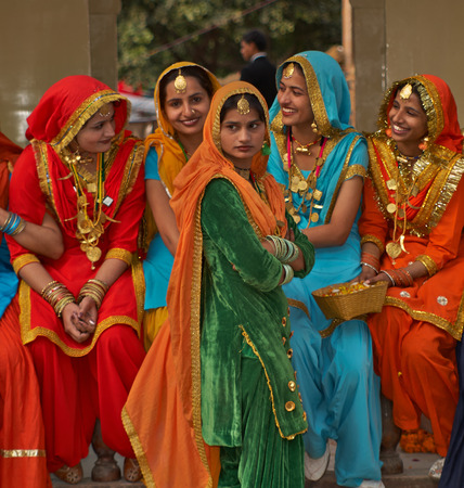 haryana: Haryana, India - February 15, 2007  Group of colourfully dressed Indian dancers from the Punjab area of India at the annual Surajkund Fair in Haryana, India