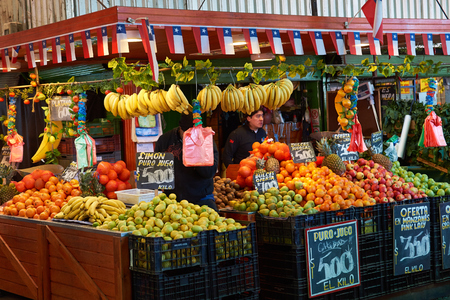 Santiago, Chile - July 8, 2014  Fresh fruit and vegetables for sale in the historic Mercado Central in Santiago, capital of Chile