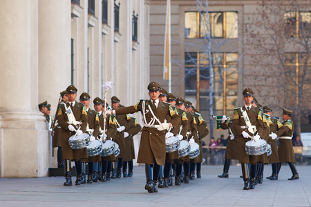 Santiago, Chile - August 8, 2014  Members of the Carabineros Band marching as part of the changing of the guard ceremony at La Moneda in Santiago, Chile