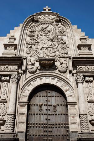 Entry to the historic Jesuit church Iglesia de la Compania in Arequipa, Peru.