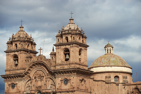 iglesia de la compania: Historic Iglesia de la Compania in the Plaza de Armas of Cusco in Peru. The church dates back to 1571 and sits on top of an old Inca Palace.