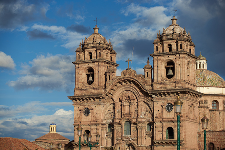 Historic Iglesia de la Compania in the Plaza de Armas of Cusco in Peru. The church dates back to 1571 and sits on top of an old Inca Palace.