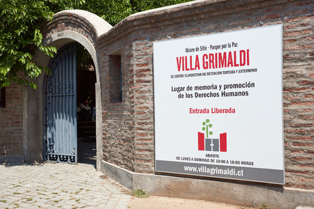 dictatorship: Santiago, Chile - November 19, 2014: Entrance to Villa Grimaldi in Santiago, Chile. Memorial park to the people who were detained and tortured during the 1970s in the prison camp located on this site during the military dictatorship. Editorial
