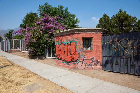 tortured: Santiago, Chile - November 19, 2014: Original entrance to Villa Grimaldi in Santiago, Chile. Memorial park to the people who were detained and tortured during the 1970\\\\\\\\\\\\\\\\ Editorial