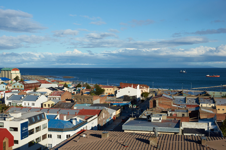 strait of magellan: Colourful roofs of Punta Arenas overlooking the Magellan Strait in southern Chile